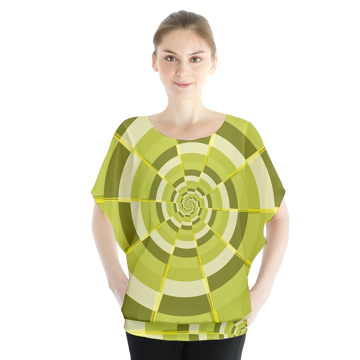 Crazy Dart Green Gold Spiral Blouse