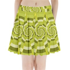 Crazy Dart Green Gold Spiral Pleated Mini Skirt