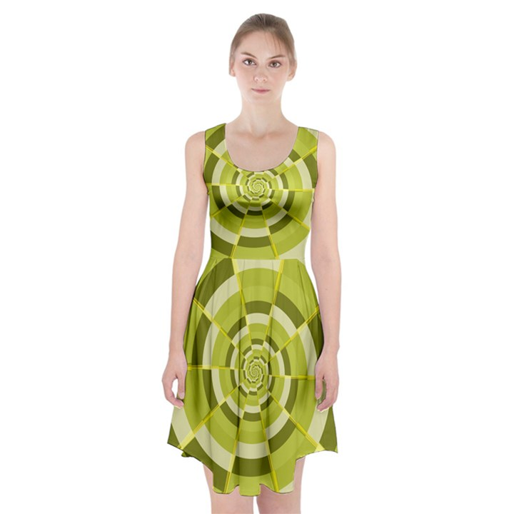 Crazy Dart Green Gold Spiral Racerback Midi Dress