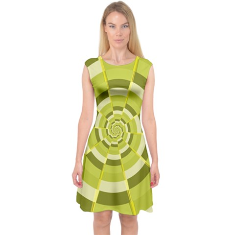 Crazy Dart Green Gold Spiral Capsleeve Midi Dress