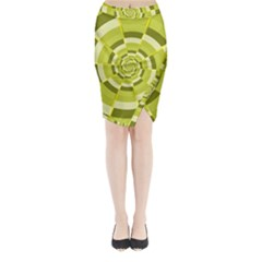 Crazy Dart Green Gold Spiral Midi Wrap Pencil Skirt