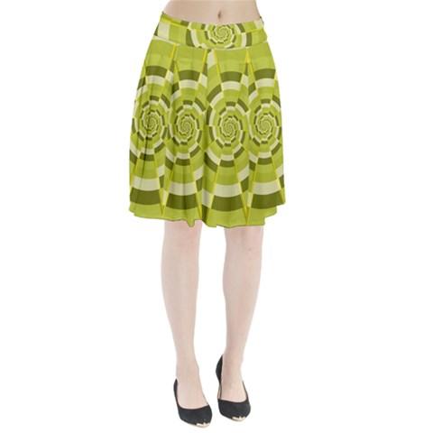 Crazy Dart Green Gold Spiral Pleated Skirt