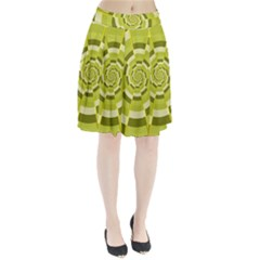 Crazy Dart Green Gold Spiral Pleated Skirt