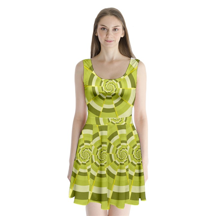 Crazy Dart Green Gold Spiral Split Back Mini Dress