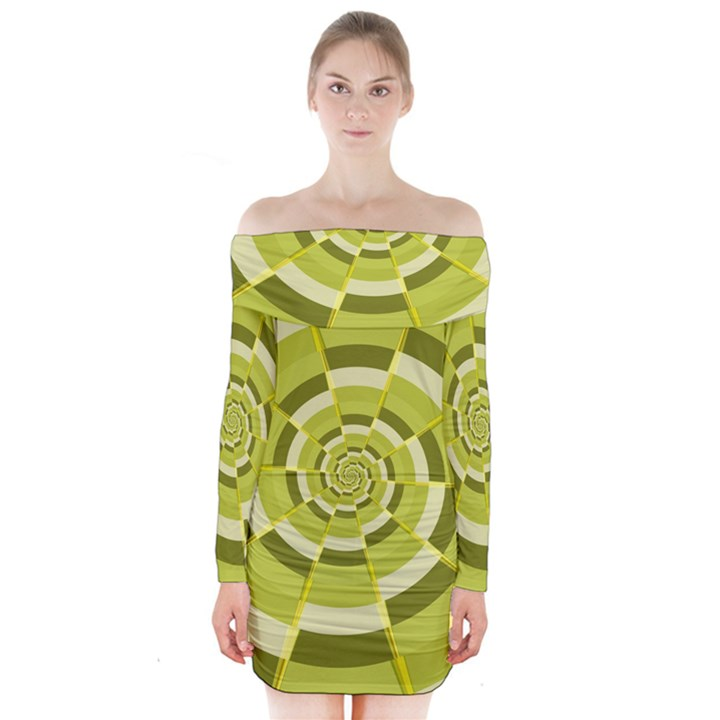 Crazy Dart Green Gold Spiral Long Sleeve Off Shoulder Dress