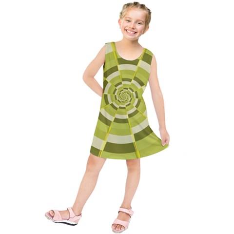 Crazy Dart Green Gold Spiral Kids  Tunic Dress