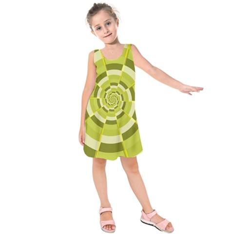 Crazy Dart Green Gold Spiral Kids  Sleeveless Dress