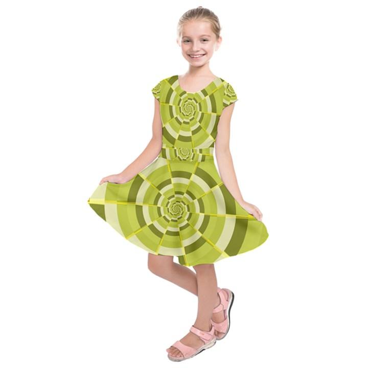 Crazy Dart Green Gold Spiral Kids  Short Sleeve Dress