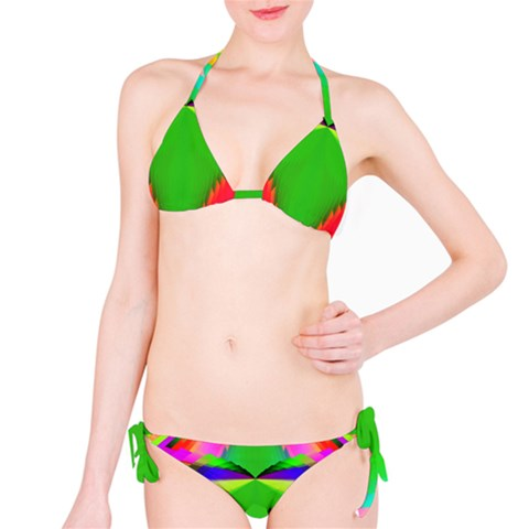 Colorful Abstract Butterfly With Flower  Bikini Set