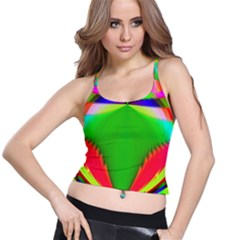 Colorful Abstract Butterfly With Flower  Spaghetti Strap Bra Top