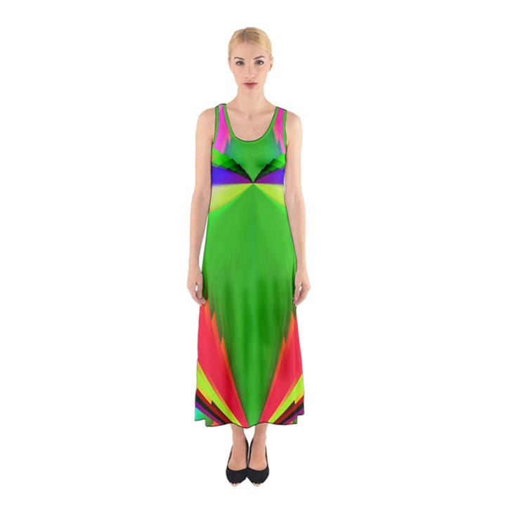 Colorful Abstract Butterfly With Flower  Sleeveless Maxi Dress
