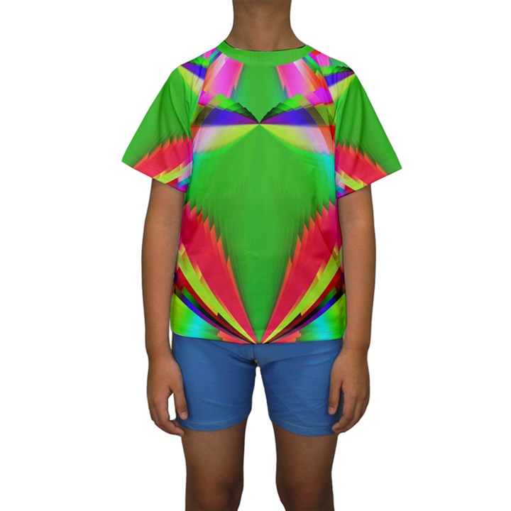 Colorful Abstract Butterfly With Flower  Kids  Short Sleeve Swimwear