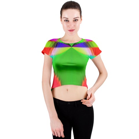 Colorful Abstract Butterfly With Flower  Crew Neck Crop Top
