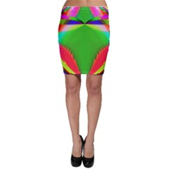 Colorful Abstract Butterfly With Flower  Bodycon Skirt