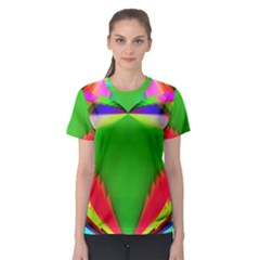 Colorful Abstract Butterfly With Flower  Women s Sport Mesh Tee
