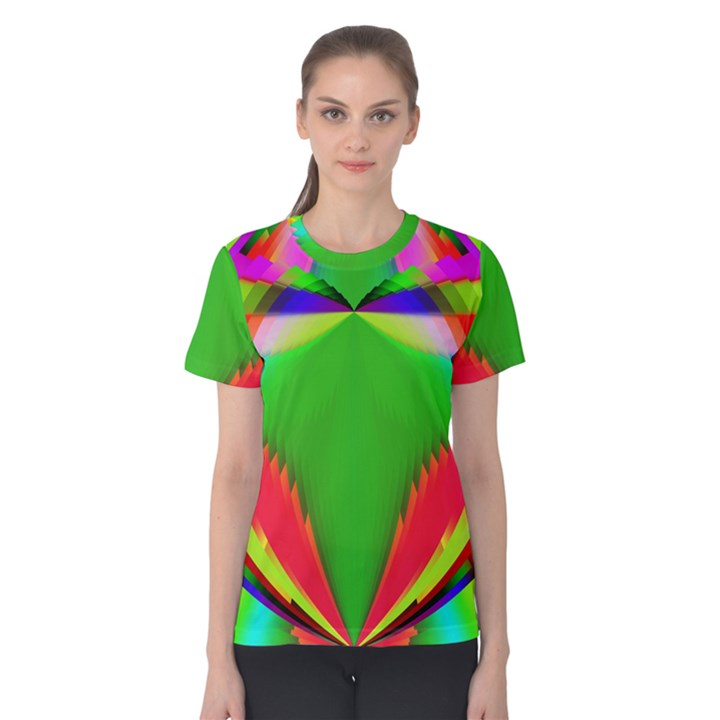 Colorful Abstract Butterfly With Flower  Women s Cotton Tee