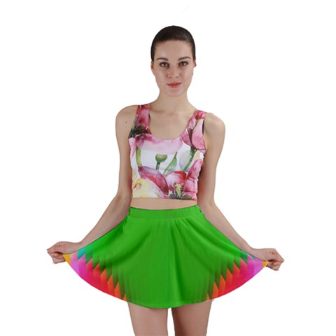 Colorful Abstract Butterfly With Flower  Mini Skirt