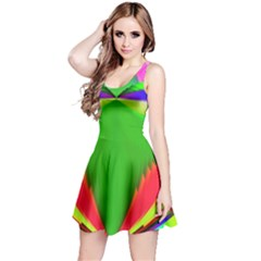 Colorful Abstract Butterfly With Flower  Reversible Sleeveless Dress
