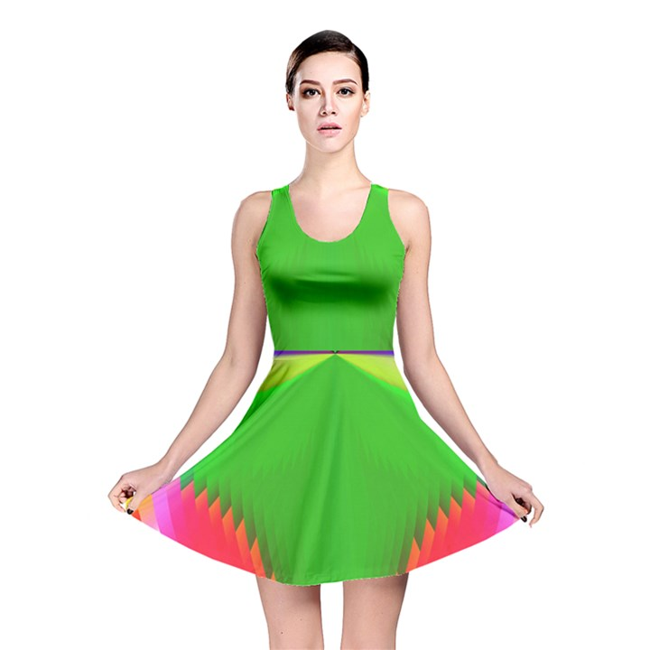 Colorful Abstract Butterfly With Flower  Reversible Skater Dress