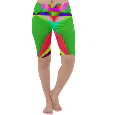 Colorful Abstract Butterfly With Flower  Cropped Leggings