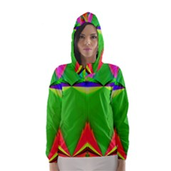 Colorful Abstract Butterfly With Flower  Hooded Wind Breaker (women)