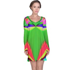 Colorful Abstract Butterfly With Flower  Long Sleeve Nightdress