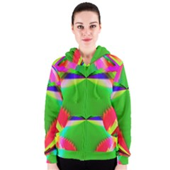 Colorful Abstract Butterfly With Flower  Women s Zipper Hoodie