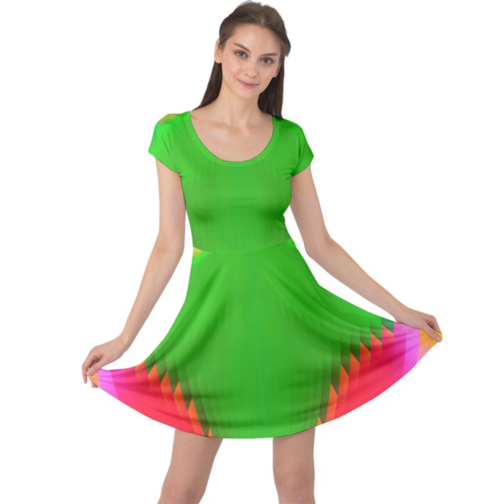 Colorful Abstract Butterfly With Flower  Cap Sleeve Dresses