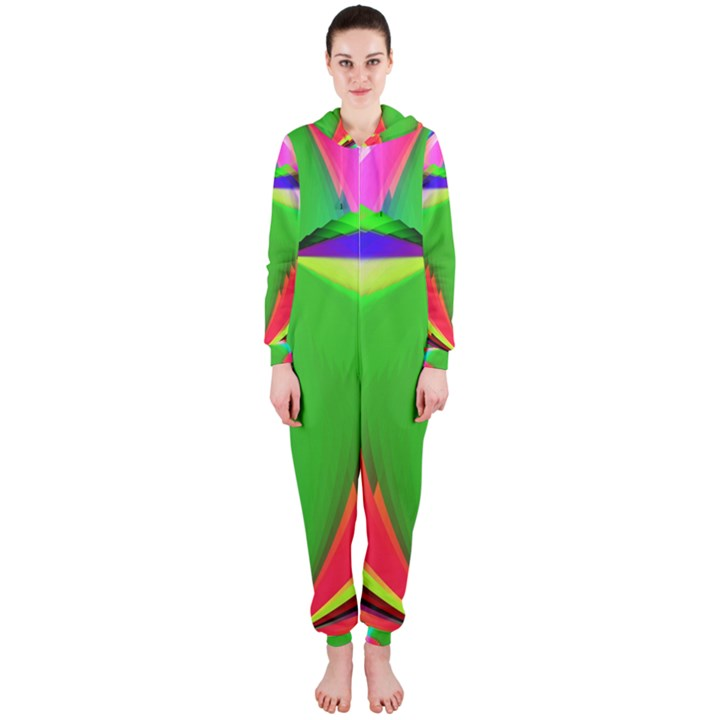 Colorful Abstract Butterfly With Flower  Hooded Jumpsuit (Ladies)