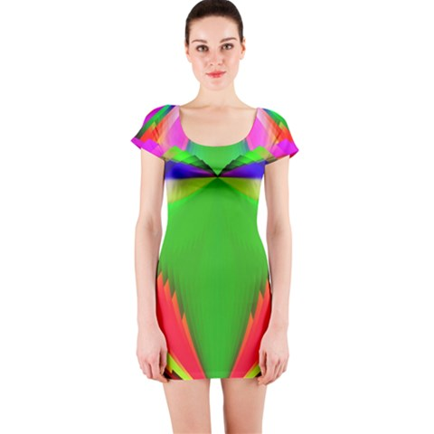Colorful Abstract Butterfly With Flower  Short Sleeve Bodycon Dress