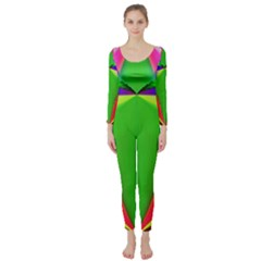 Colorful Abstract Butterfly With Flower  Long Sleeve Catsuit