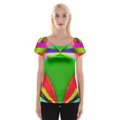 Colorful Abstract Butterfly With Flower  Women s Cap Sleeve Top