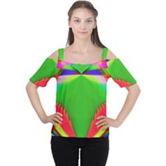 Colorful Abstract Butterfly With Flower  Women s Cutout Shoulder Tee
