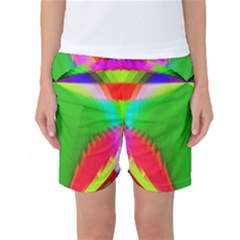 Colorful Abstract Butterfly With Flower  Women s Basketball Shorts