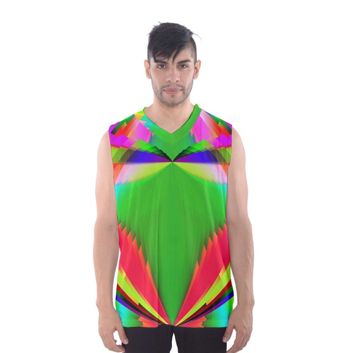 Colorful Abstract Butterfly With Flower  Men s Basketball Tank Top