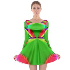 Colorful Abstract Butterfly With Flower  Long Sleeve Skater Dress