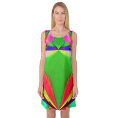 Colorful Abstract Butterfly With Flower  Sleeveless Satin Nightdress
