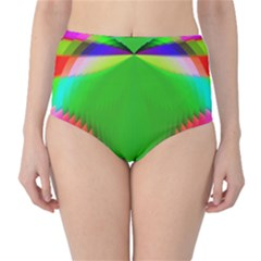 Colorful Abstract Butterfly With Flower  High-Waist Bikini Bottoms