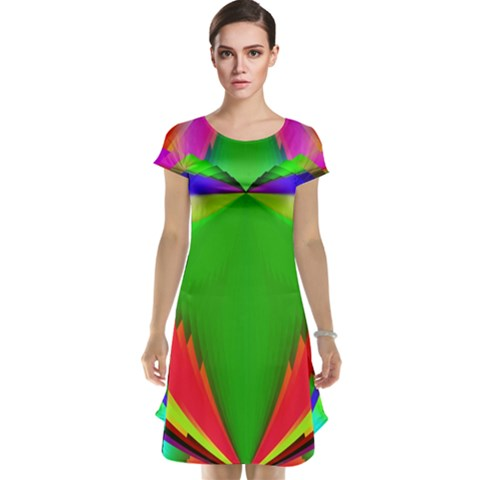 Colorful Abstract Butterfly With Flower  Cap Sleeve Nightdress