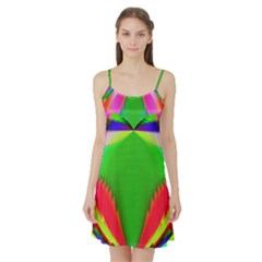 Colorful Abstract Butterfly With Flower  Satin Night Slip