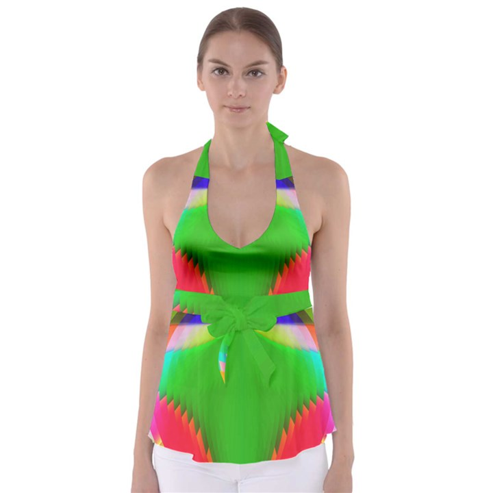 Colorful Abstract Butterfly With Flower  Babydoll Tankini Top