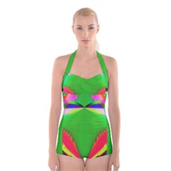 Colorful Abstract Butterfly With Flower  Boyleg Halter Swimsuit