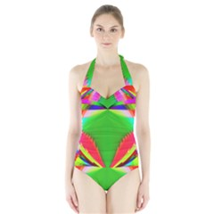 Colorful Abstract Butterfly With Flower  Halter Swimsuit