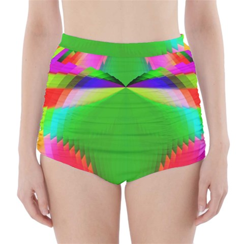 Colorful Abstract Butterfly With Flower  High-Waisted Bikini Bottoms