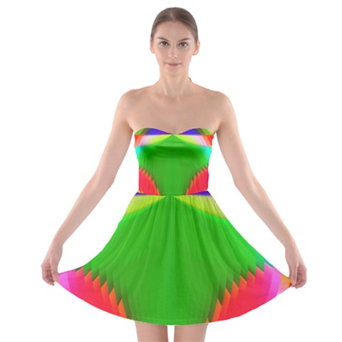 Colorful Abstract Butterfly With Flower  Strapless Bra Top Dress