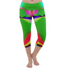 Colorful Abstract Butterfly With Flower  Capri Yoga Leggings