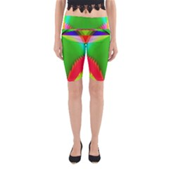 Colorful Abstract Butterfly With Flower  Yoga Cropped Leggings