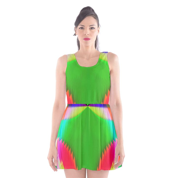 Colorful Abstract Butterfly With Flower  Scoop Neck Skater Dress