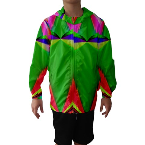 Colorful Abstract Butterfly With Flower  Hooded Wind Breaker (Kids)