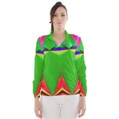 Colorful Abstract Butterfly With Flower  Wind Breaker (women)